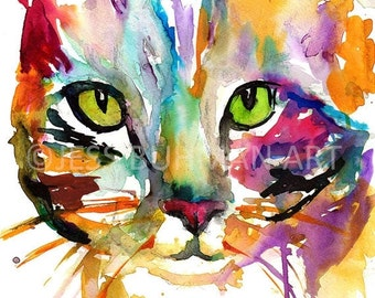 ON SALE Cat Watercolor Print, Tabby Cat Painting, Watercolor Painting of Cat, Nursery Art, Abstract Cat Painting, Cat Illustration, Pet Pain