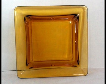 Vintage Mid Century Amber Glass Ashtray