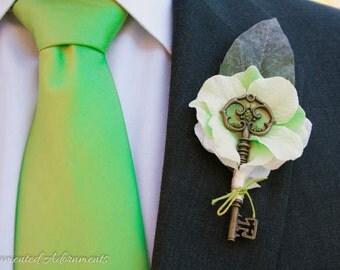 Light Green Key Themed Boutonniere - Metal, Victorian Inspired, Wedding, Groom, Groomsmen, Prom, Corsage