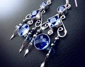Iolite earrings, chandelier earrings, blue quartz crystal earrings, sterling silver earrings, statement earrings, boho jewelry, bohemian