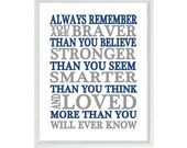 Always Remember You Are Braver Than You Believe Quote, Nursery Wall Art, Inspirational Print, Typography, Baby Boy Nursery, Ocean Blue, Gray