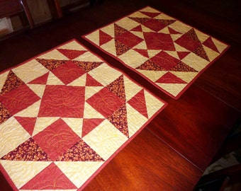 QUILT HANDMADE - Table Topper - Runner - Maine Woods Autumn - Rust, Yellow/Gold -Square- Maple Leaves