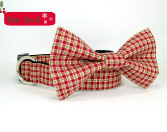 Christmas dog collar-Green and Red gingham dog collar with bow tie set (Mini,X-Small,Small,Medium ,Large or X-Large Size)- Adjustable
