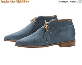 SUMMER SALE Denim Blue handmade Leather Chukka Boots / nika