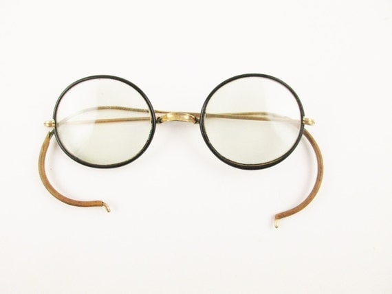 Eyeglass Frame Earpiece : Retro Fun 1930s Black-rimmed Eyeglasses With Wrap-around
