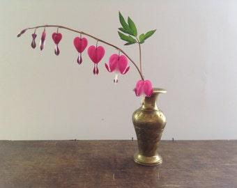 Vintage brass vase Engraved Solid brass vase Made in India Small Decorative Brass Vase Brass bud vase