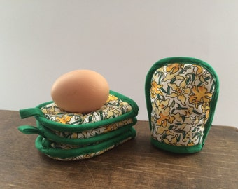 Vintage SCANDINAVIAN Egg Warmers Set of 4 Cotton egg cosies Green yellow Floral egg warmers Easter table decor