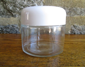 Vintage Gemco White Lidded Glass Canister