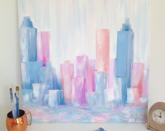 Original abstract Atlanta skyline oil painting on canvas, 24x24