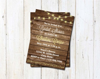 Custom Bridal Shower Inviations ~ Rustic Romance ~ 5x7