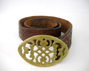 Vintage Tooled Western / Hippie Belt with Brass Buckle