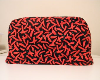 Toaster Oven Cover - Red Chili Peppers on a Black Background
