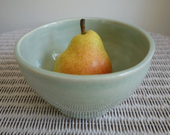 Spring Celadon Handmade Pottery Bowl - Wheel Thrown Pottery