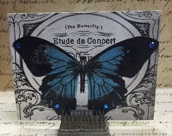 Whimisical, Vintage Inspired, French Script, Butterfly, Blank Postcards