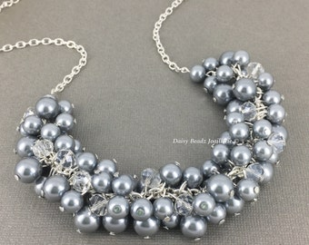 Pearl Cluster Necklace, Grey Silver Pearl Cluster Necklace, Bridesmaids Necklace, Grey Necklace, Grey Pearl Necklace, Grey Cluster Necklace