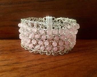 Wire Crochet Rose Jade Cuff Bracelet, Pink Jade Cuff, Bead crochet,Cuff, wire crochet bracelet, silver bracelet, Jade jewelry, pink bracelet
