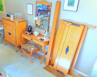 Art Deco BIEDERMEIER Style blonde wood Bedroom Set - 1930's Grand Rapids LUCE furniture Co birds eye maple bed
