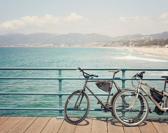 California Beach Photography, Santa Monica Pier, Bicycle Photograph, Los Angeles print, Surf Decor, Boho Style, Pastel Large Print