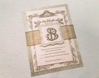 Glitter Wedding Invitation // Royal Crown Invitation // Filigree Wedding Invitation // Vintage Glam