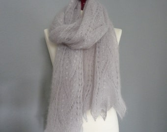Lace hand knitted scarf, Light gray silk/mohair lace scarf, Estonian lace pattern.