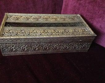 Romantic Hollywood regency gold Filigree tissue box