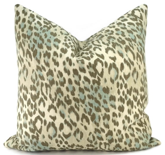 Beige Brown & Light Blue Cheetah Throw Pillow Cover Kravet