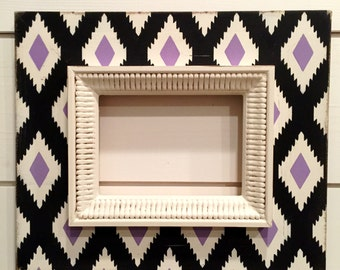 aztec custom distressed wood 5x7 picture frame | black & lavender | gift for friend | wall art decor | teen room | gallery grouping |