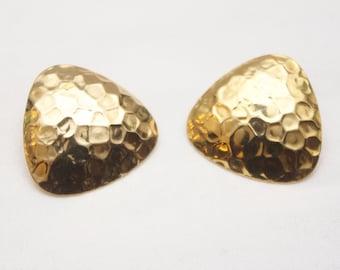 """80's Vintage """"FRANCIS"""" Gold Fancy Earrings (PIERCED)"""