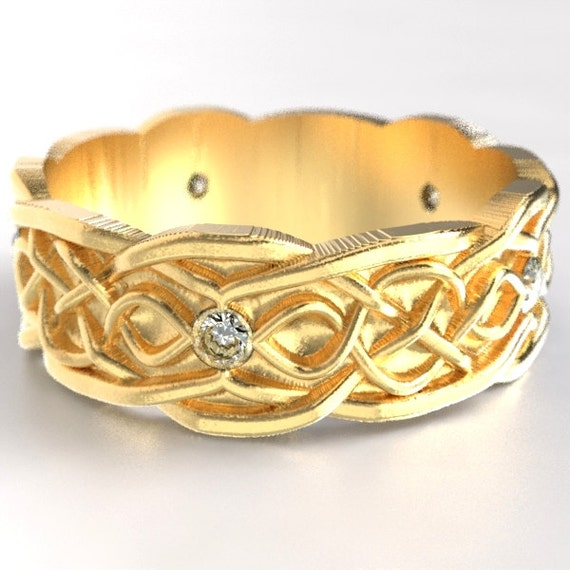 Gold Celtic Wedding Ring With Infinity Symbol Pattern & Moissanite Stones in 10K 14K 18K or Palladium, Made in Your Size Cr-1050