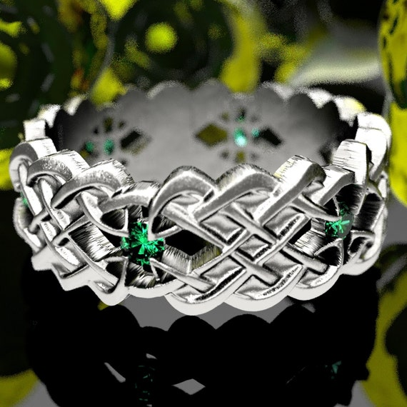 Celtic Wedding Band With Dara Knot Design With Emerald Stones in Sterling Silver, Made in Your Size CR-1043