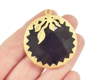 36mm Black Onyx Faceted Stone Pendant with Leaf Detail - 22k Matte Gold Plated 1pc