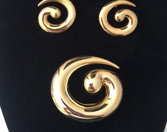 Monet Gold Swirl Earringa and Brooch set