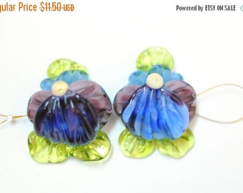 ON SALE Flower Lampwork Beads - Handmade Glass - 2 Beads Set - Blue Violet Flower Garden Pansy