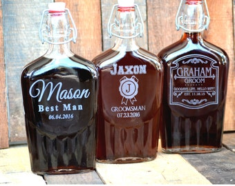 Flask for Personalized Groomsman Gift, Scotch Whiskey Decanter, Father of the Bride / Groom, Best Man Gift, Custom Groomsmen Gift