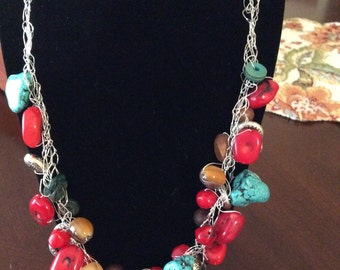 Crocheted Wire Beaded Necklace