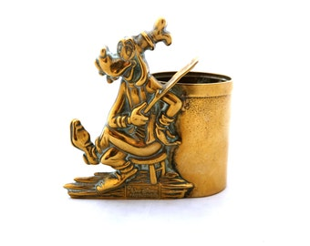 Vintage Brass Disney Pen Holder, Brass Goofy, Walt Disney Productions Souvenir, Disney, Brass Disney, Disney Pen Pot