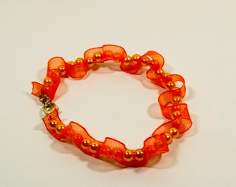 Orange Ribbon and Beads bracelet - Orange Mist for Funky Days
