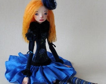 "Art doll, OOAK ""The Blue rose"""