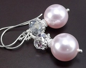 SUMMER SALE Sterling Silver Earrings - Clear AB Chinese Crystal and Rosaline Swarovski Glass Pearls
