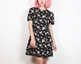 Vintage Soft Grunge Dress Black Floral Print Mini Dress 90s Dress Babydoll Dress Lolita Tee Tshirt Dress 1990s Dress Ditsy Floral M Medium