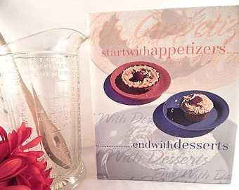 Start With Appetizers End With Desserts Cookbook Vintage Hardcover Three Ring Recipe Book