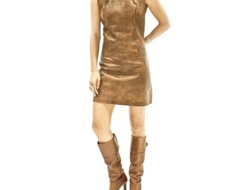 70s Custom-made one-of-a-kind Leather Dress >> Size SMALL