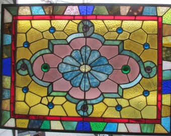 VINTAGE Stained Glass Panel from old house