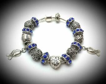 Colon cancer awareness charm bracelet,Colon cancer awareness,March cancer awareness,Colorectal cancer awareness,Blue cancer,Hope jewelry