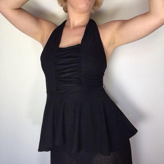 Vintage maxi dress black peplum halter silky flowing festival gothic gown Mr Darren sheer