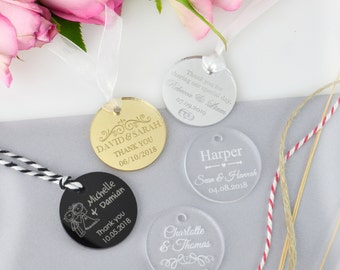 """50 x Engraved Acrylic """"Round"""" Wedding Gift Tags"""