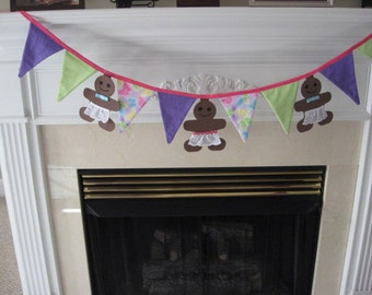 Gingerbread Banner Pennant Banner Party Decoration Nursery Decoration Photo Prop