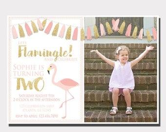 Flamingo Birthday Invitation | Lets Flamingle | Luau Invitation | Pool Party Invitation | Pink and Gold Birthday