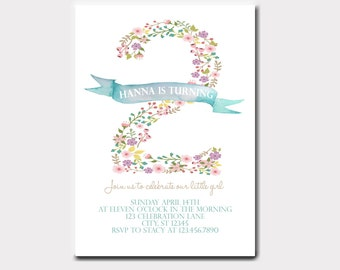 Floral Number Birthday Invitation | Floral Birthday Invitation | Spring Birthday Invitation