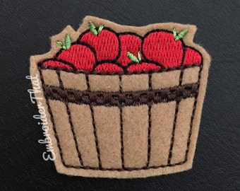 4 UNCUT Baskets of apples  felt applique embellishments (4)